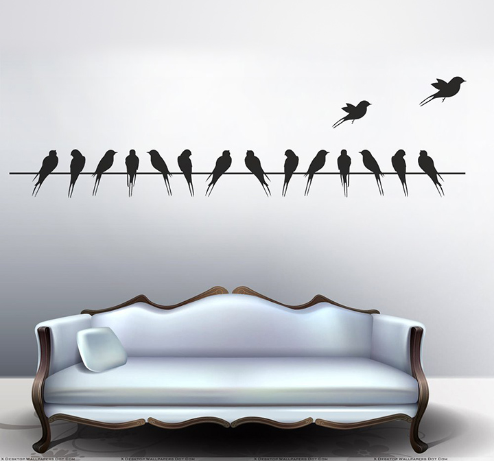 decals design 'beautiful long tail birds on wire' wall sticker