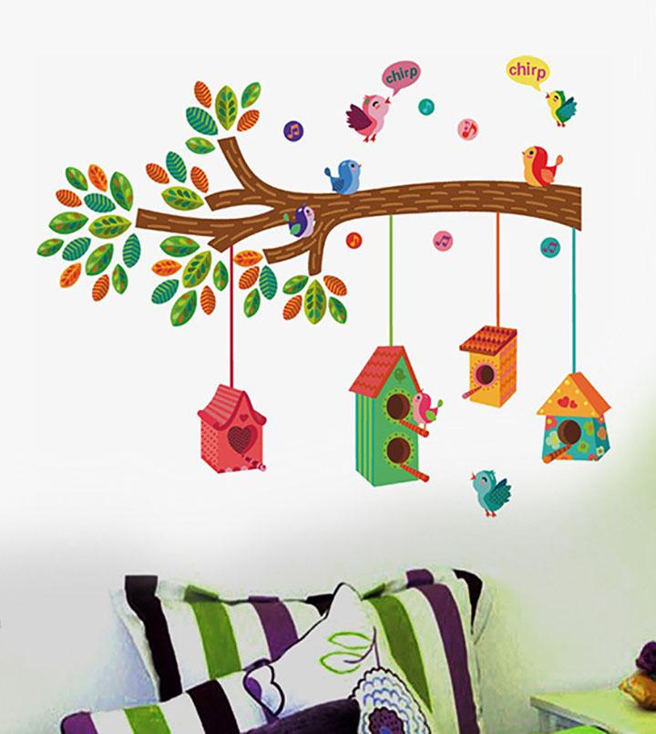 decals design ' bird house on a branch' wall sticker