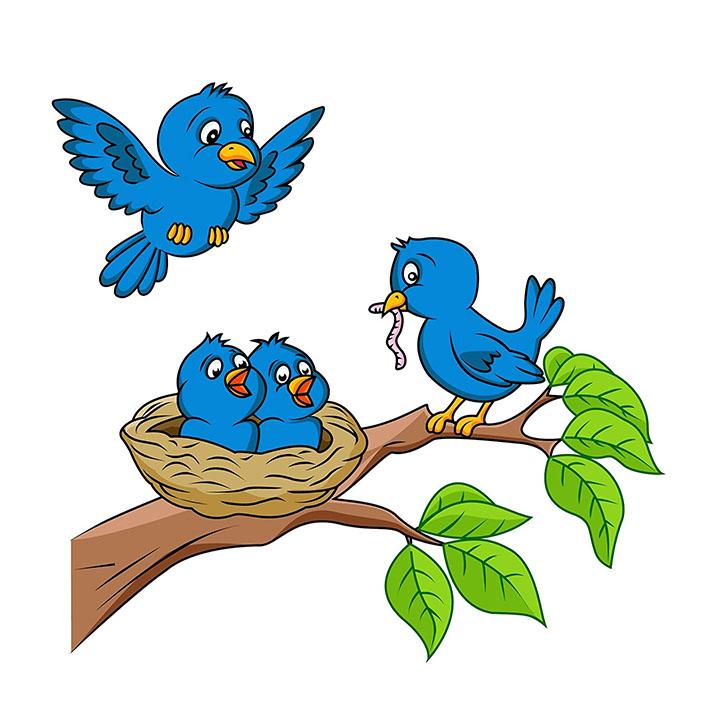 decals design 'birds feeding' wall sticker