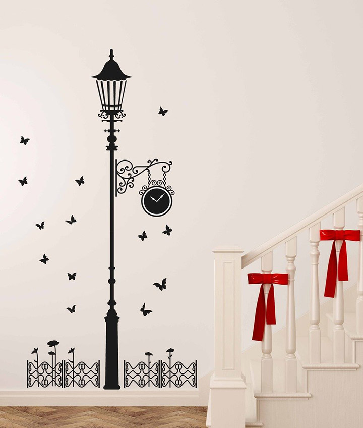 decals design 'black antique street lamp with butterflies' wall sticker