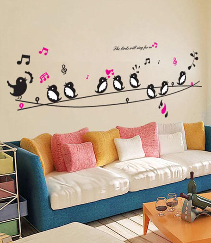 decals design 'cute singing birds' wall sticker