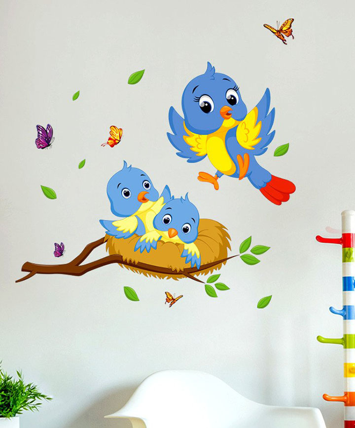 decals design 'happy birds family' wall decal