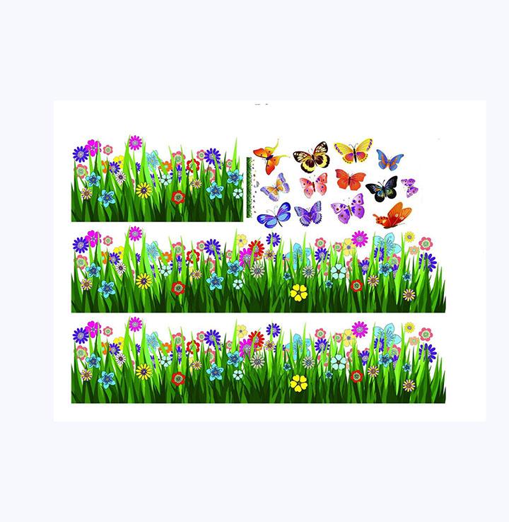 decals design stickerskart walking in the garden flower border design wall stickers