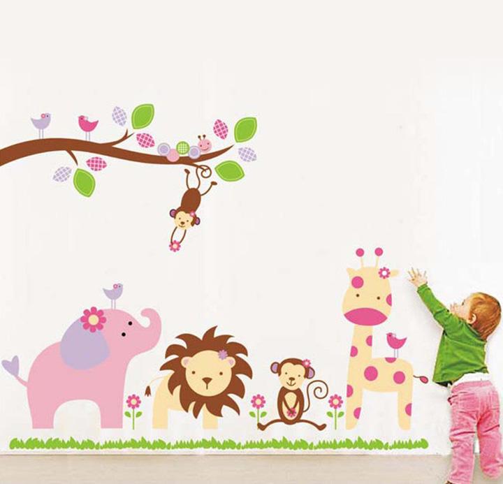 decals design stickerskart wall stickers baby cartoon animal kingdom