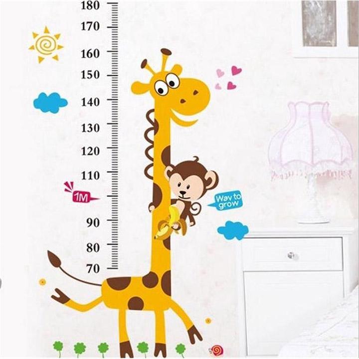 decals design stickerskart wall stickers kids giraffe height chart