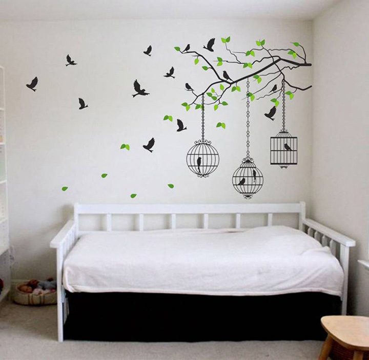decals design 'tree branches with leaves birds and cages' wall sticker