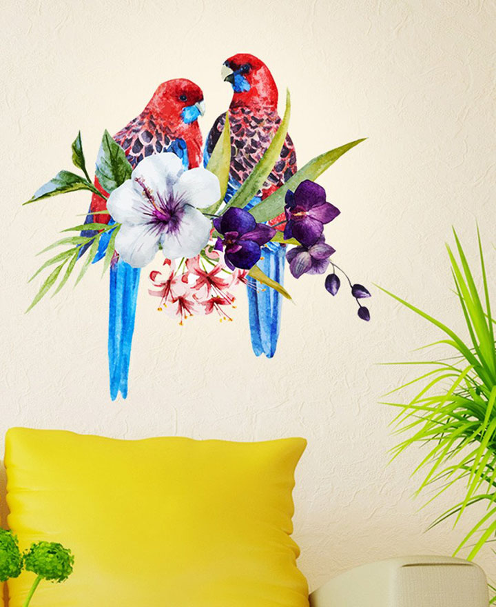 decals design tropical birds on floral branch' wall decal