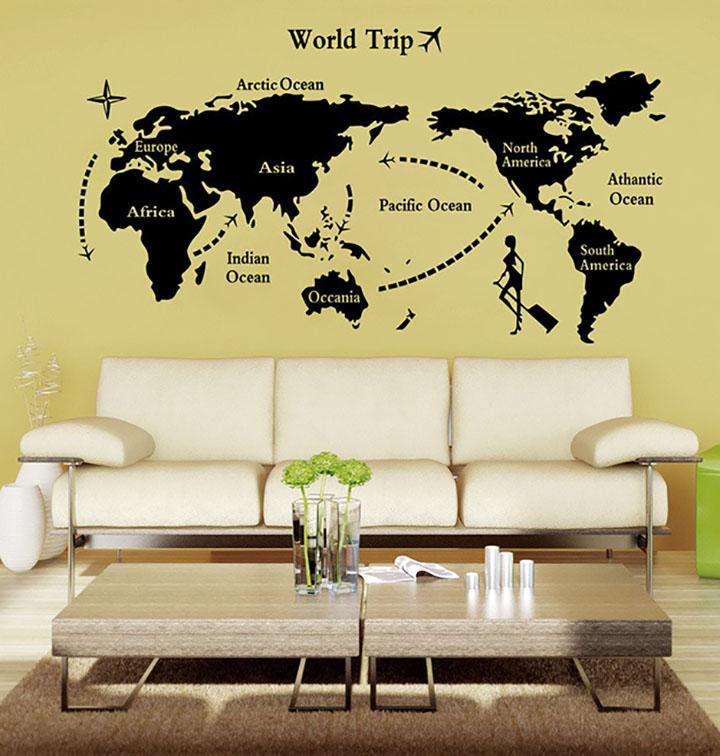 decals design 'world map' wall sticker