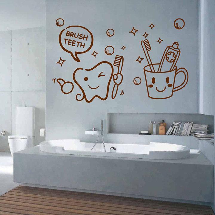decorvilla vinyl brush teeth wall sticker