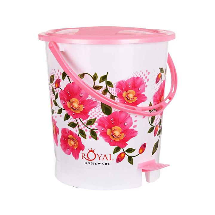 fuscia flora plastic dustbin for home