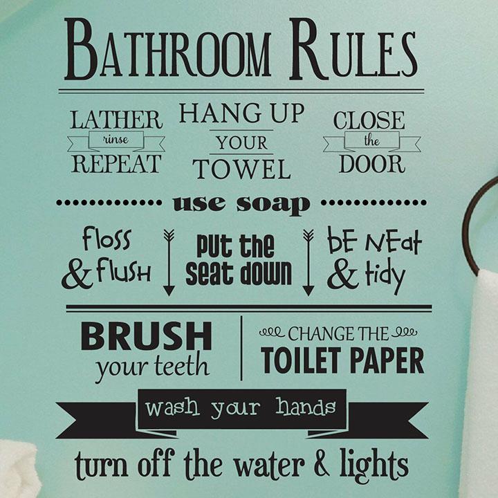 gadgets wrap bathroom rules detachable home wall decals vinyl