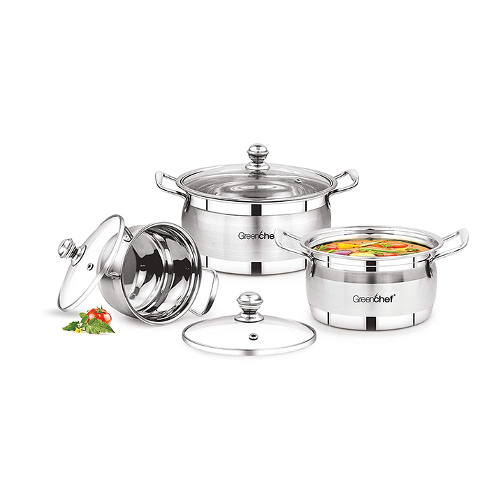 greenchef stainless steel cook and serve gift set
