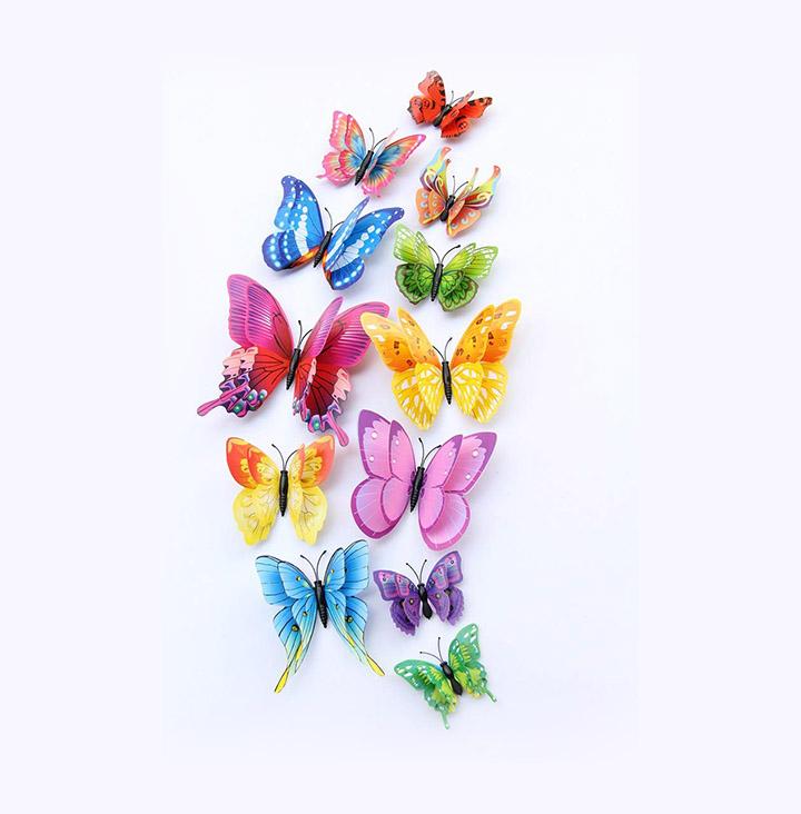 idream 12pcs 3D pvc magnet butterflies diy wall sticker