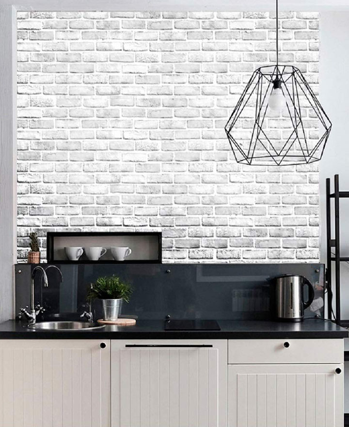 impression 3d white brick stone self adhesive wall paper, wall sticker home decor stickers