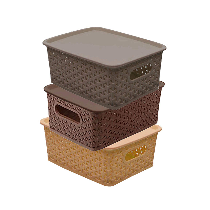 kuber industries plastic 3 pieces small size multipurpose solitaire storage basket with lid