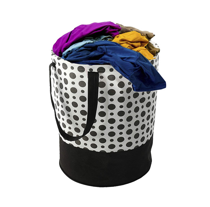 kuber industries polka dots printed waterproof canvas laundry bag