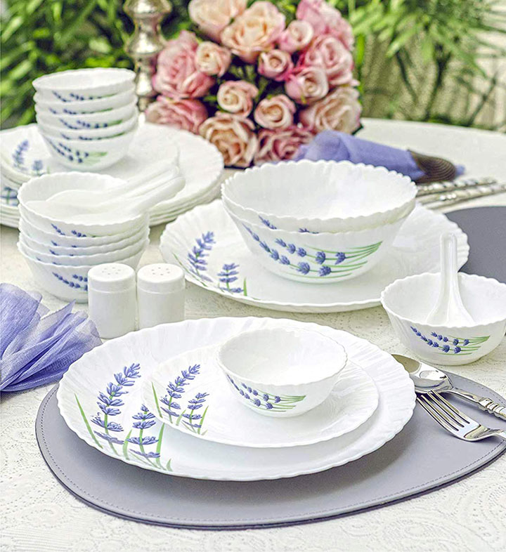 laopala english lavender novo collection opalware dinner set
