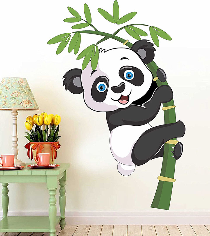 paper place design baby panda removable wall stickers