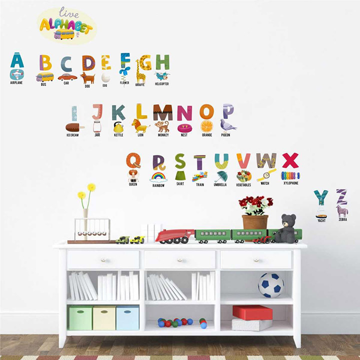 rawpockets live alphabets for kids' wall sticker