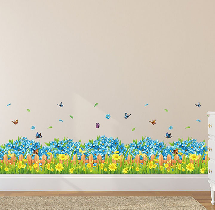 solimo wall sticker for living room blue floral picket fence with butterflies