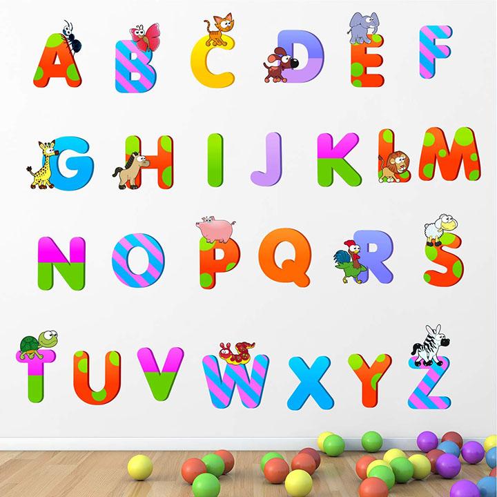 stickme baby kids learning education nursery Pre School Kinder garden pvc vinyl alphabets wall sticker