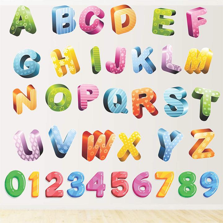 stickme 'colourful glittering alphabets kids learning education nursery pre school kinder garden wall sticker