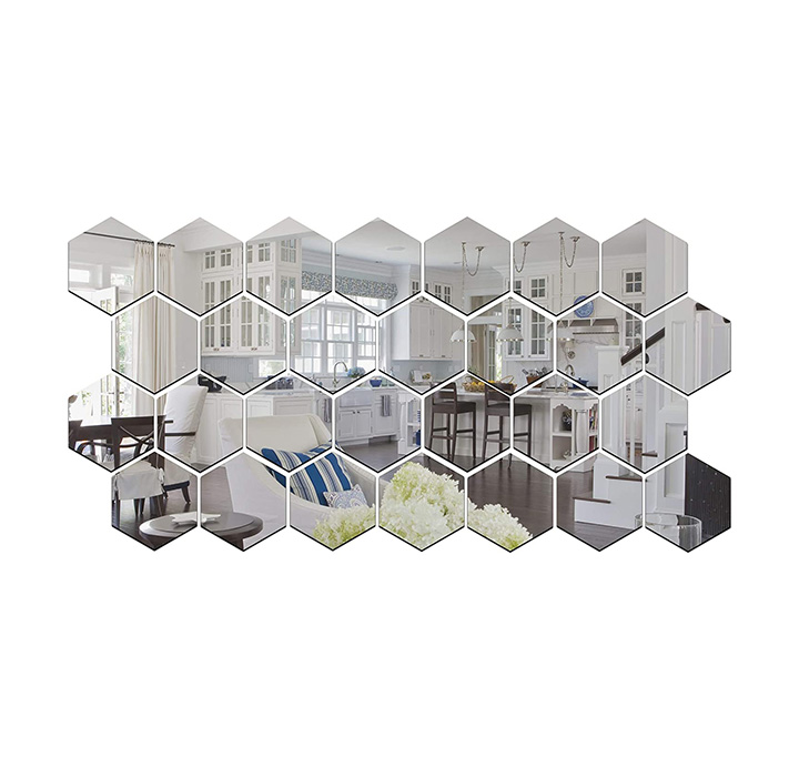 wall1der - hexagon 3d acrylic stickers with 10 butterfly stickers