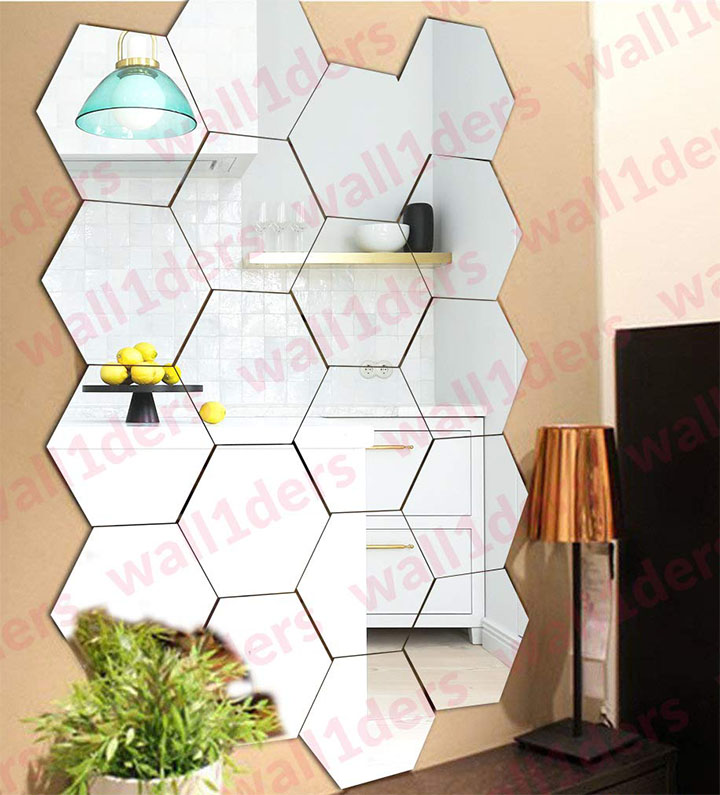 wall1ders - 20 hexagon with 10 butterfly silver 3d acrylic stickers