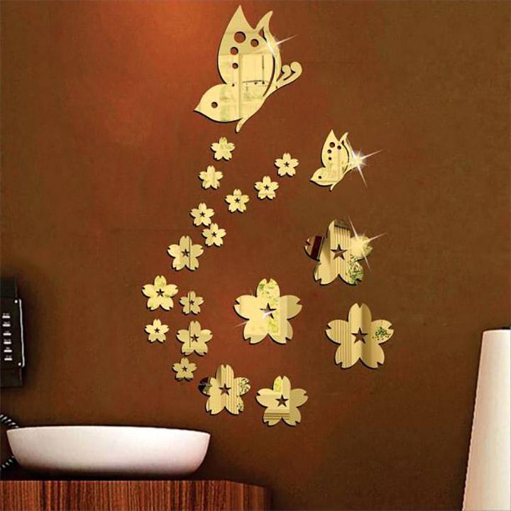 wall1ders - 21 butterfly flower 3d acrylic stickers