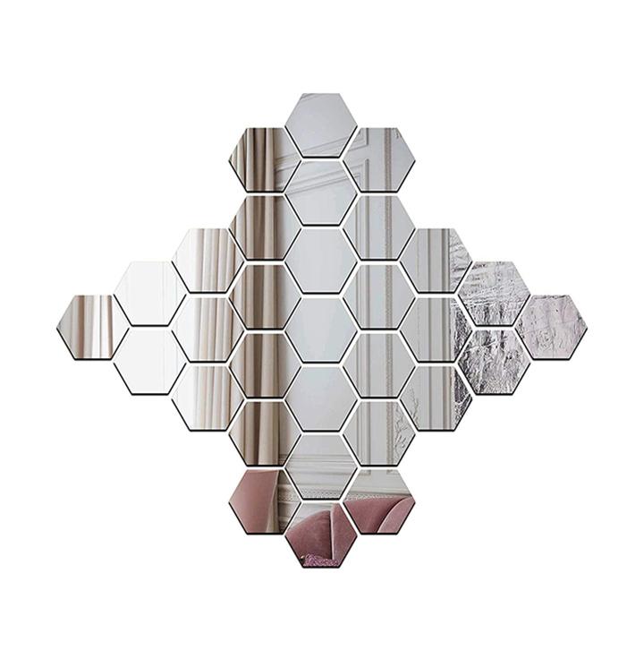wall1ders - 30 hexagon & 10 butterflies silver (size 10.5 x 12.1) 3d acrylic stickers