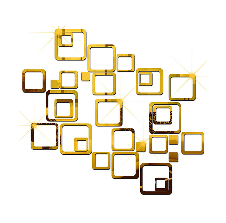 wall1ders - 30 six size square golden 3d acrylic sticker