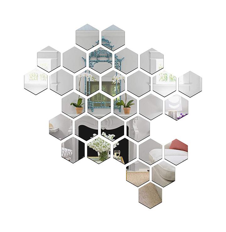wall1ders - 31 hexagon & 10 butterflies silver (size 10.5 x 12 cm) 3d acrylic stickers
