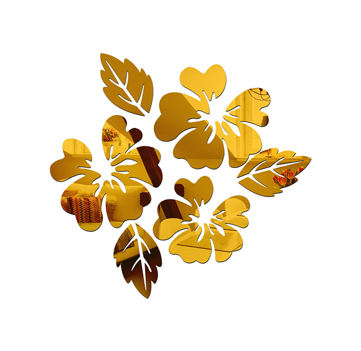 wall1ders - flower & leaf (pack of 6) 3d acrylic stickers
