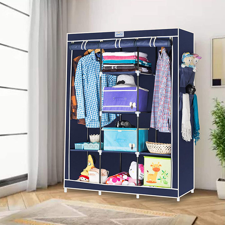 CbeeSo 8 Racks Double Hanger Foldable Wardrobe