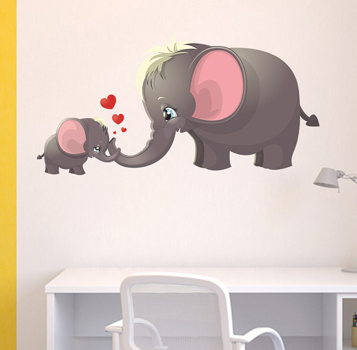 Decals Design 'Cute Cartoon Elephant and Calf Playing Theme' Wall Sticker