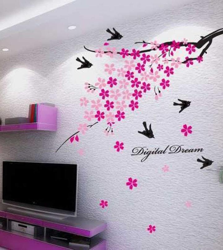 Decals Design 'Flower Branch with Birds' Wall Sticker