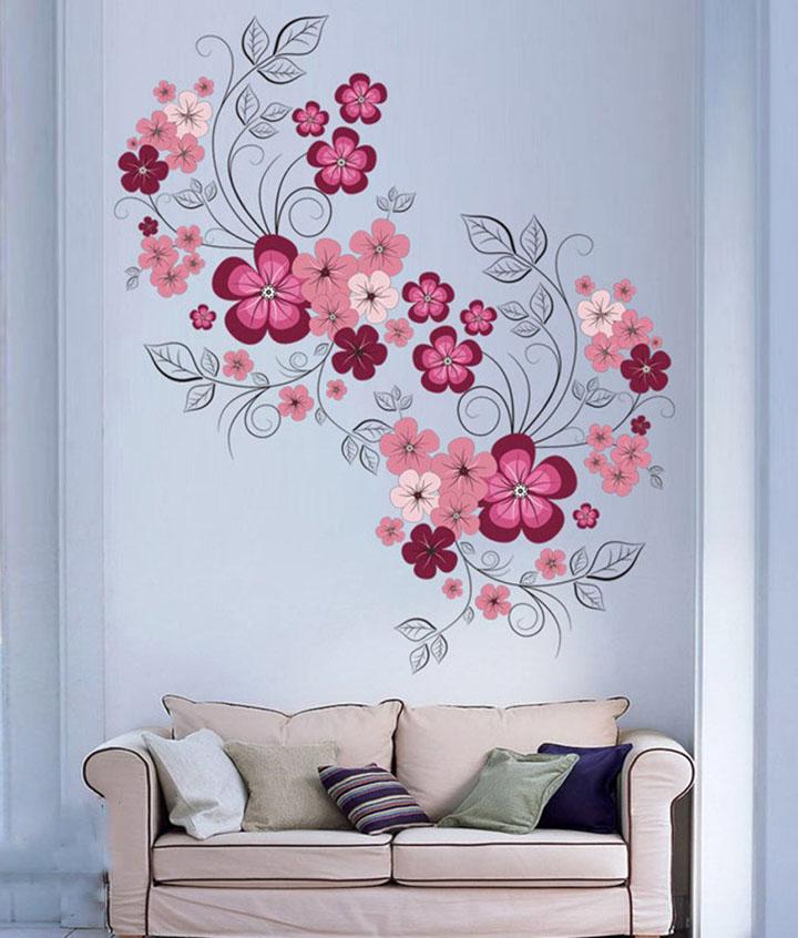 Decals Design 'Flowers with Vine' Wall Sticker