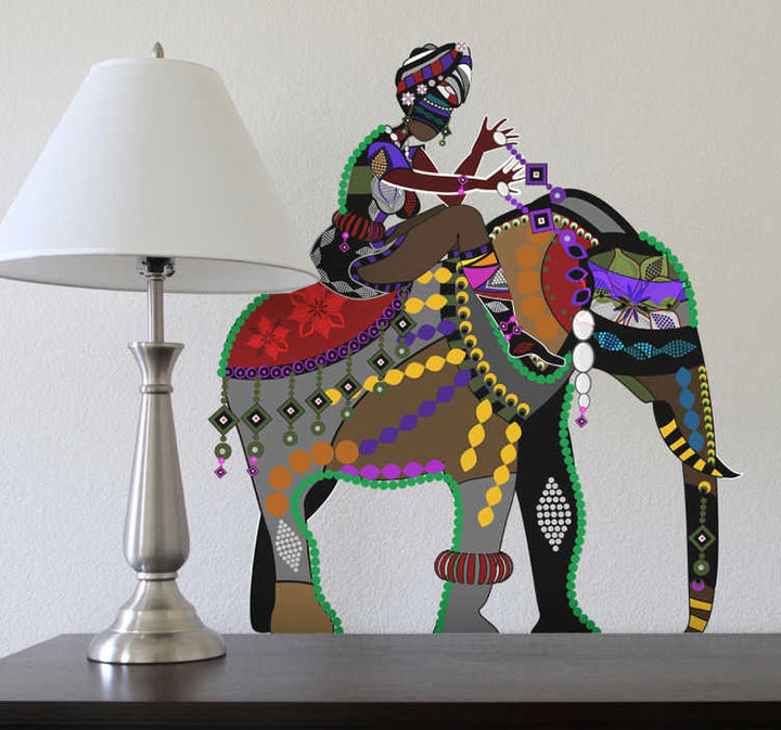 Decals Design 'Indian Art Elephant Rider' Wall Sticker