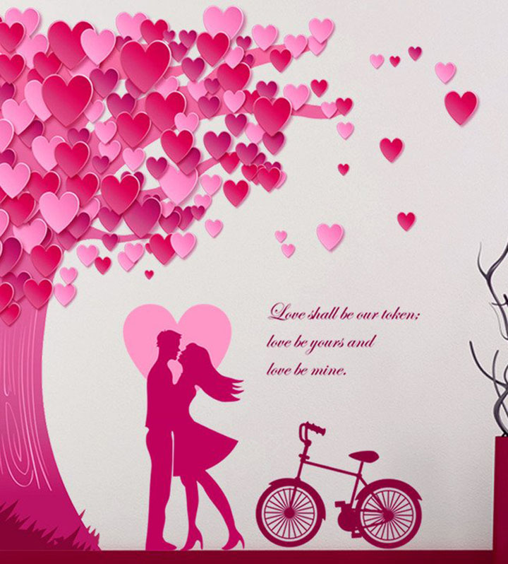 Decals Design 'Romantic Couple Under The Heart Leaves Tree and Love Quote with Bicycle' Wall Sticker