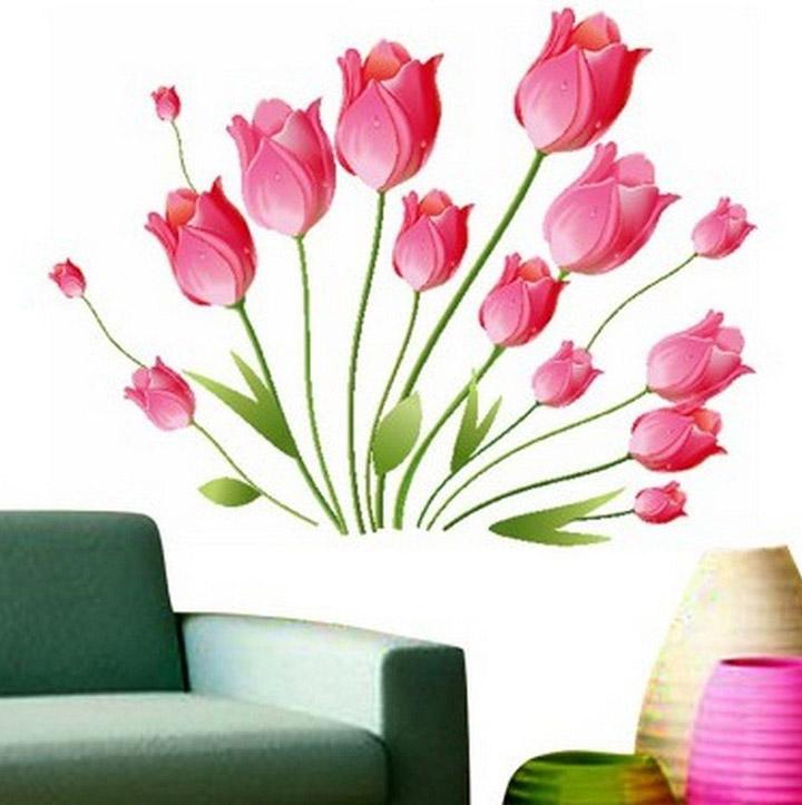 Decals Design StickersKart Wall Stickers Pink Tulips Bouquet