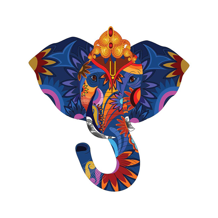 Rangoli god & God's Wall Sticker Elephant Modern Art