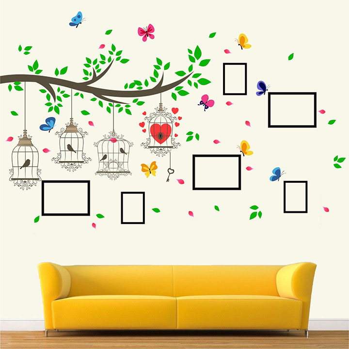 StickMe 'Family Photo - Frame - Tree - Birds Cage - Butterfly - Wall Sticker