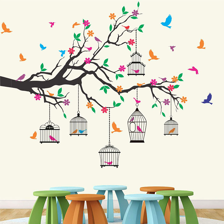 StickMe Nature Tree Colorful Birds Cage Wall Sticker