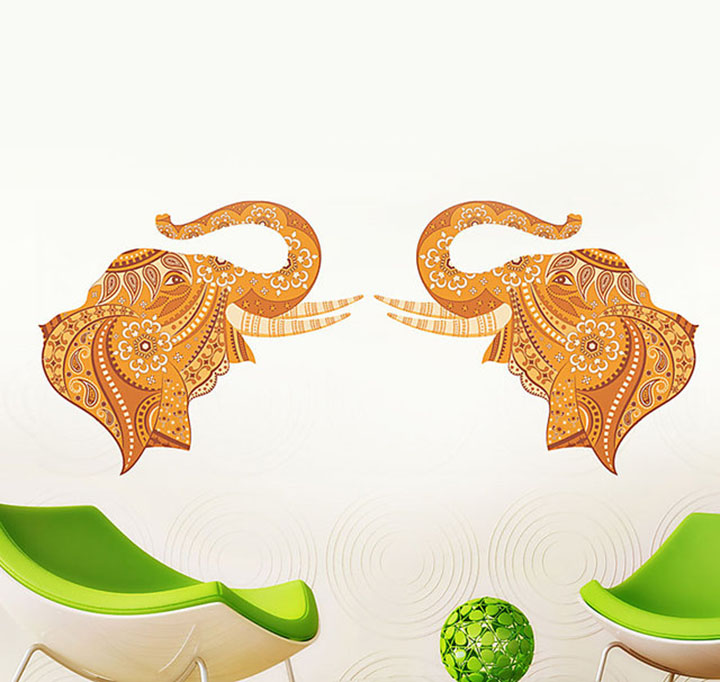 decals design 'pair of ative elephant' wall stickers