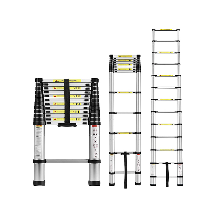 equal portable and compact 13-steps telescopic foldable aluminium ladder