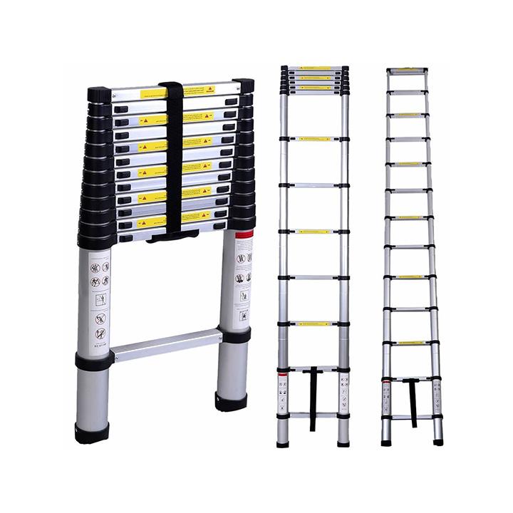 inditradition ultra-stable aluminium telescopic folding step ladder