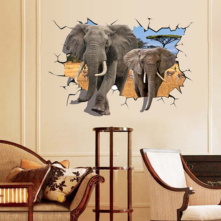 uberlyfe 3d elephant art wall stickers