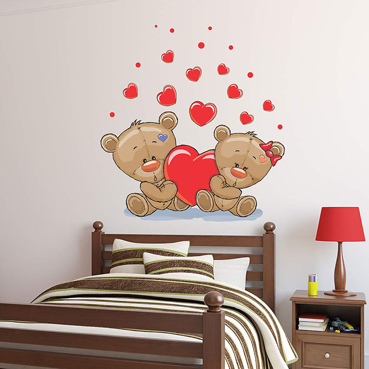 wallstick love teddy couples wall stickers