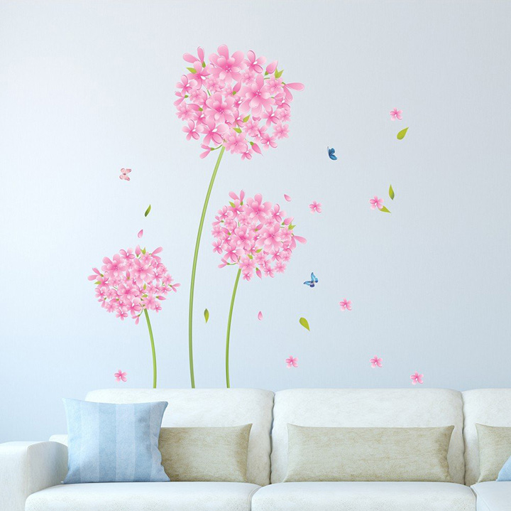 Amazon Brand - Solimo Wall Sticker for Home - Pink Blossoms