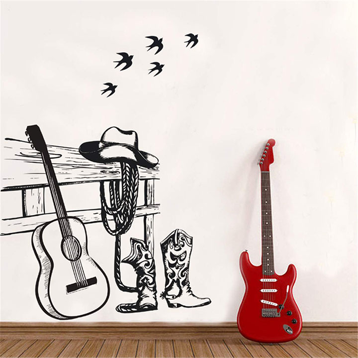 Ampire Wall Stickers Monochrome Cowboy Hat Shoes and Guitar Decor
